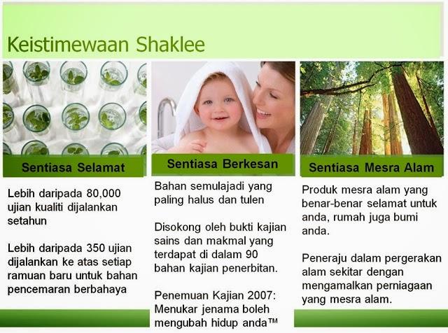 Falsafah produk Shaklee : Sentiasa Selamat, Sentiasa Berkesan dan Sentiasa Mesra Alam