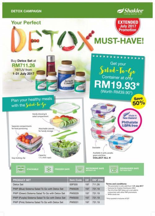 Promosi Shaklee Julai - Set Detoks dan Bekas Makanan Sihat