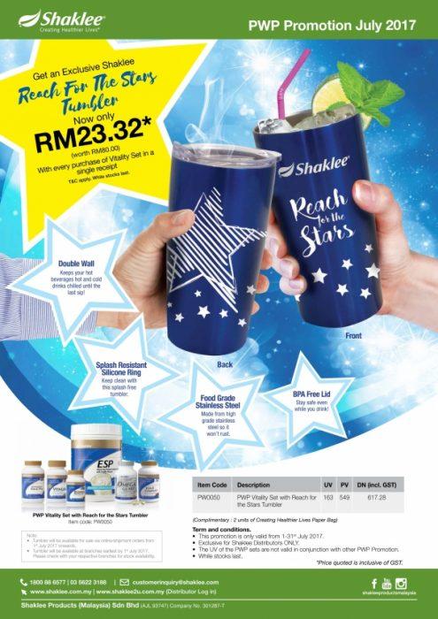 Promosi Shaklee Julai - Blue Tumbler dengan pembelian Set Vitality