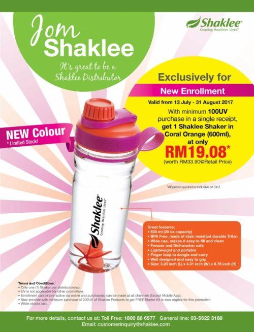 Promosi Julai - Coral Orange Shaker dengan Keahlian Baru Shaklee
