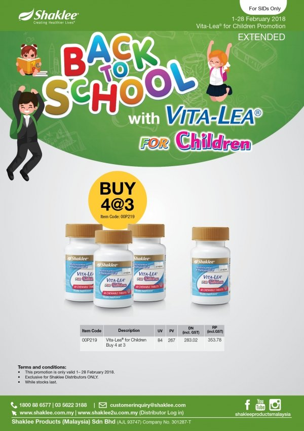 Promosi Shaklee Februari 2018 - Vitalea for Children