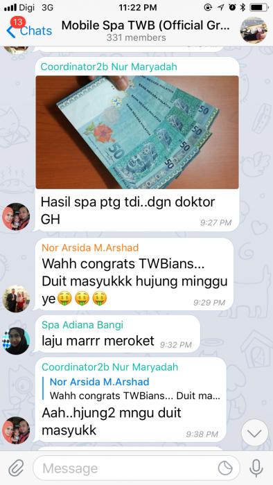 Hasil instant cash dengan kerjaya mobile spa TWB