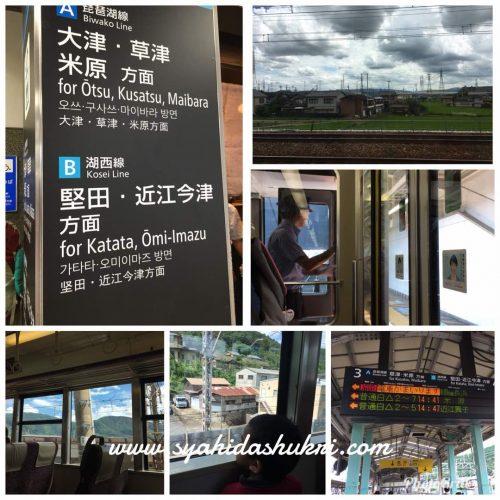 Naik train ke Shiga Perfecture. Kami kena gunakan Biwako Line untuk ke sana.