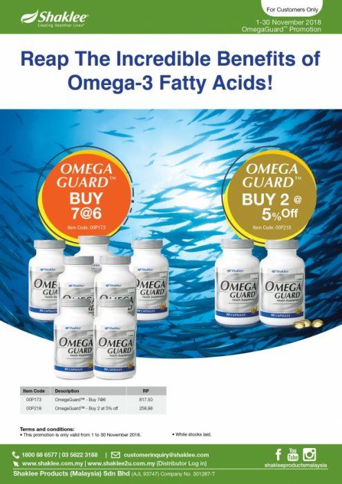Promosi Omega Guard. Beli 7 botol pada harga 6 botol sahaja. Beli 2, diskaun 5%.