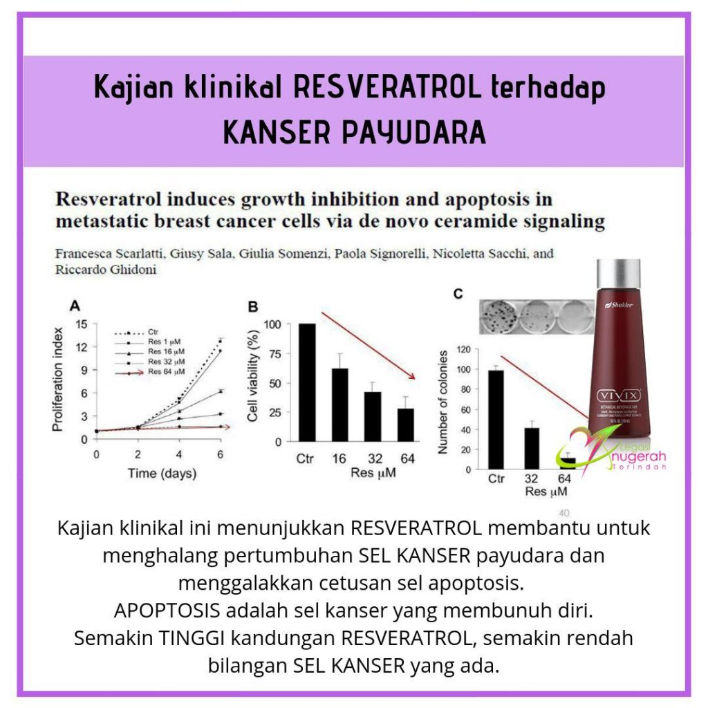 Kajian klinikal Resveratrol terhadap Sel Kanser Payudara.