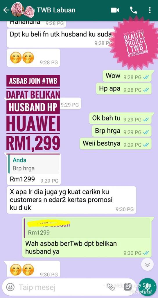 Demi menghargai suaminya yang support bisnesnya selama ni, dihadiahkan sebuah smart phone Huawei kepada suaminya. Aww sweetnya :-)