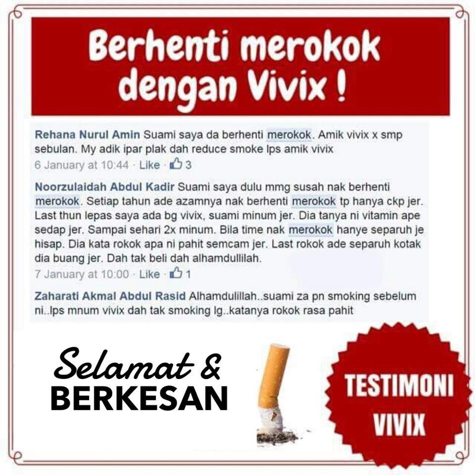 Testimoni berhenti merokok dengan Vivix.