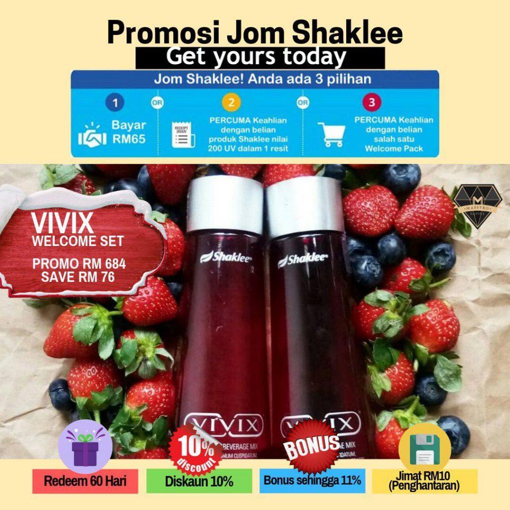Promosi Vivix Shaklee. Sebotol berharga RM475. Tapi beli 2, terus dapat RM684 saja.