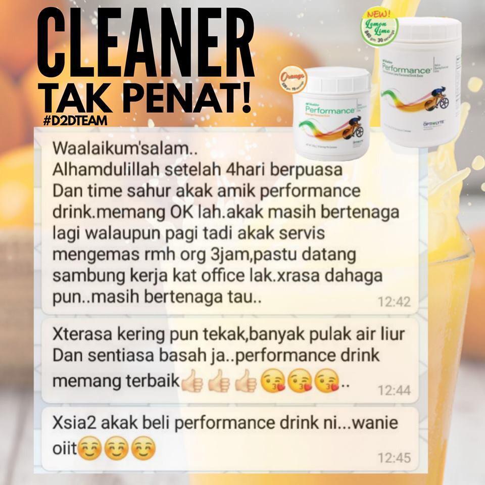 Testimoni Performance Drink bagi cleaner yang berpuasa dan mengamalkan Performance Drink.