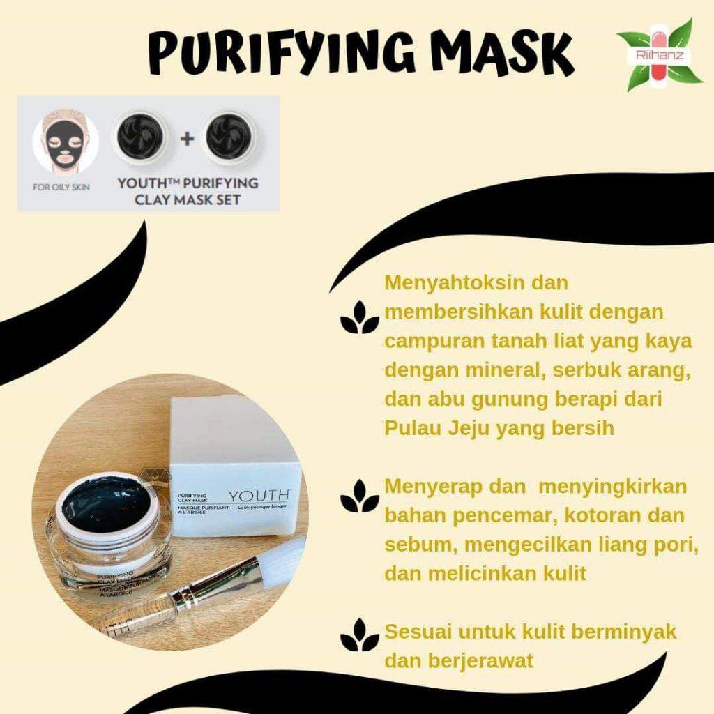 Masker Youth Purifying Clay Mask untuk kulit berminyak dan berjerawat.