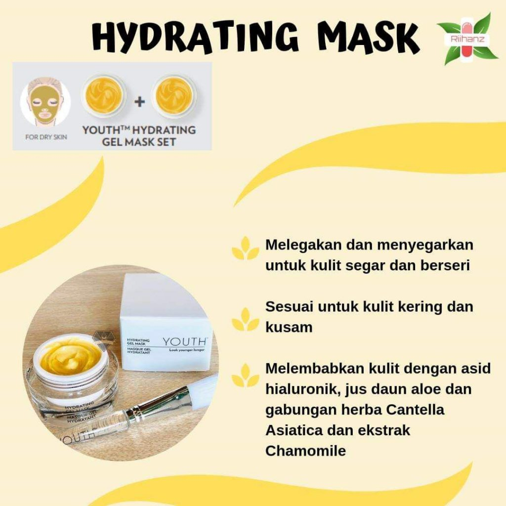 Masker Youth: Hydrating Gel Mask untuk kulit kering.