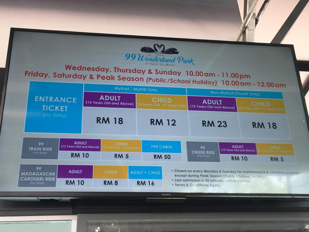 Harga tiket ke 99 Wonderland Park