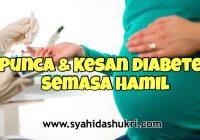 Kenali punca dan kesan diabetes semasa hamil