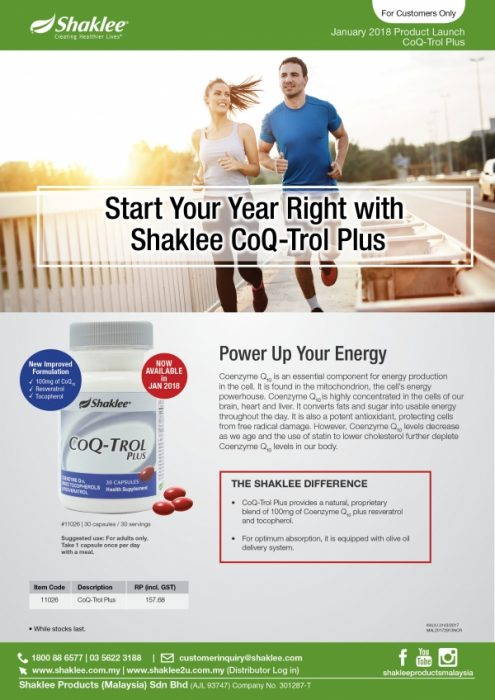 Produk Terbaru Shaklee : CoQ-Trol Plus, Terbaik untuk Kesihatan Jantung